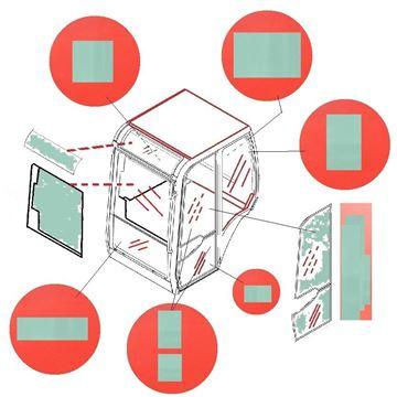 Obrázek sklo kabiny pro Bobcat X320 X322 X322D X325 X328 X331 X334 X335 X 331 334 335 E57W kvalita skleněná výplň