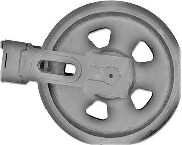 Bild von Idler Leitrad Spannrad inkl. seitlichen Schuhen / Führungen Gesamthöhe Rad 287/323mm fuer Yanmar VIO20 VIO20-1 B19