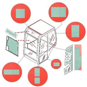 Obrázek KABINOVÉ (KABINA) SKLO PRO JCB / 802 SUPER 802.7 803 PLUS 803 SUPER 804 SUPER 8052 8060 8061 CTS ( version PEGADA) (Z 2004)